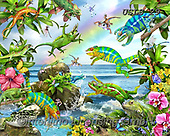Lori, REALISTIC ANIMALS, REALISTISCHE TIERE, ANIMALES REALISTICOS, paintings+++++Leaping Lizards_4_72,USLS29,#A#, EVERYDAY ,puzzles ,puzzles
