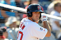 Portland Sea Dogs first baseman Travis Shaw #40 during a game versus the Reading Phillies at Hadlock Field in Portland, Maine on September 3, 2012.  (Ken Babbitt/Four Seam Images)