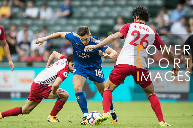 Leicester City FC forward Tom Lawrence (L) fights for the ball with West Bromwich Albion defender Ahmed Hegazy (R) during the Premier League Asia Trophy match between Leicester City FC and West Bromwich Albion at Hong Kong Stadium on 19 July 2017, in Hong Kong, China. Photo by Yu Chun Christopher Wong / Power Sport Images