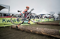 Michael Boros (CZE/Pauwels Sauzen-Vastgoedservice) jumping/flying over the logs<br /> <br /> elite men's race<br /> GP Sven Nys 2017