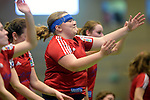GER - Luebeck, Germany, February 06: After the 1. Bundesliga Damen indoor hockey semi final match at the Final 4 between Berliner HC (blue) and Duesseldorfer HC (red) on February 6, 2016 at Hansehalle Luebeck in Luebeck, Germany. Final score 1-3 (HT 0-1). (Photo by Dirk Markgraf / www.265-images.com) *** Local caption *** Sabine Markert #6 of Duesseldorfer HC