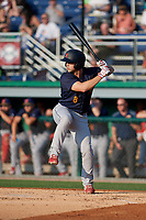 State College Spikes Matt Duce (8) at bat during a NY-Penn League game against the Batavia Muckdogs on July 3, 2019 at Dwyer Stadium in Batavia, New York.  State College defeated Batavia 6-4.  (Mike Janes/Four Seam Images)