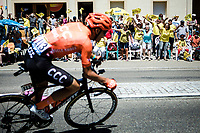 Alessandro De Marchi (ITA/CCC) and peloton cheered forward by the excited roadside fans<br />  <br /> Stage 5: Saint-Dié-des-Vosges to Colmar (175km)<br /> 106th Tour de France 2019 (2.UWT)<br /> <br /> ©kramon