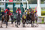 HALLANDALE BEACH, FL - December 09: Dona Catalina, #2, and John Velazquez drift wide right out of the gate in the $124,000 Copa Dama del Caribe at Gulfstream Park on December 9, 2017 in Hallandale Beach, FL. (Photo by Bob Aaron/Eclipse Sportswire/Getty Images.)