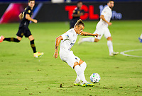 CARSON, CA - SEPTEMBER 06: Rolf Feltscher #25 of the Los Angeles Galaxy sends ball downfield during a game between Los Angeles FC and Los Angeles Galaxy at Dignity Health Sports Park on September 06, 2020 in Carson, California.