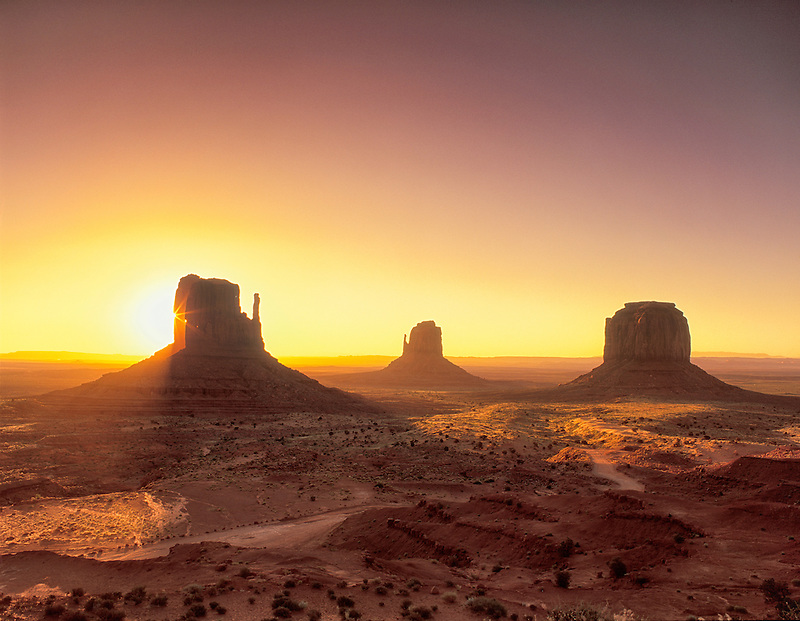 Sunrise on Monument Valley as seen from the visitors center. Arizona.
