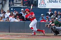 Arizona Wildcats third baseman Nick Quintana (13) singles to left field during an NCAA game against the NDSU Bison at Hi Corbett Field on March 11, 2018 in Tucson, Arizona. Arizona defeated North Dakota State University 11-2. (Zachary Lucy/Four Seam Images)