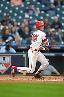 Nick Hanks (44) of the Louisiana Ragin' Cajuns follows through on his swing against the Vanderbilt Commodores in game five of the 2018 Shriners Hospitals for Children College Classic at Minute Maid Park on March 3, 2018 in Houston, Texas.  The Ragin' Cajuns defeated the Commodores 3-0.  (Brian Westerholt/Four Seam Images)