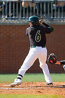 Brett Lang (6) of the Charlotte 49ers at bat against the Canisius Golden Griffins at Hayes Stadium on February 23, 2014 in Charlotte, North Carolina.  The Golden Griffins defeated the 49ers 10-1.  (Brian Westerholt/Four Seam Images)
