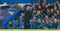 Chelsea Manager Jose Mourinho takes a drink during the UEFA Champions League Group G match between Chelsea and Dynamo Kyiv at Stamford Bridge, London, England on 4 November 2015. Photo by Andy Rowland.