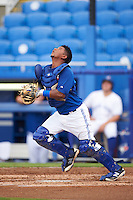 GCL Blue Jays catcher Manuel Herazo (9) during the first game of a doubleheader against the GCL Phillies on August 15, 2016 at Florida Auto Exchange Stadium in Dunedin, Florida.  GCL Phillies defeated the GCL Blue Jays 7-5 in a continuation of a game originally started on July 30th.  (Mike Janes/Four Seam Images)