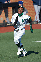 Gino Groover (23) of the Charlotte 49ers hustles towards home plate against the Florida Atlantic Owls at Hayes Stadium on April 2, 2021 in Charlotte, North Carolina. The 49ers defeated the Owls 9-5. (Brian Westerholt/Four Seam Images)