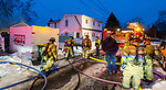 WATERBURY, CT-122320JS14- Waterbury firefighters battled a garage fire at a home at 25 Cassidy Avenue in Waterbury on Wednesday. <br /> Jim Shannon Republican-American