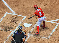 22 June 2014: Washington Nationals outfielder Denard Span connects against the Atlanta Braves at Nationals Park in Washington, DC. The Nationals defeated the Braves 4-1 to split their 4-game series and take sole possession of first place in the NL East. Mandatory Credit: Ed Wolfstein Photo