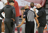 Arkansas head coach Eric Musselman expresses frustration as he disputes a call with an official, Saturday, January 9, 2021 during the first half of a basketball game at Bud Walton Arena in Fayetteville. Check out nwaonline.com/210110Daily/ for today's photo gallery. <br /> (NWA Democrat-Gazette/Charlie Kaijo)