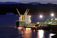 Porto da Jarí, onde é embarcado papel e celulose produzida pela Jarí Celulose do grupo Orsa. Rio Jarí.<br /> Almeirim, Pará, Brasil.<br /> Foto Paulo Santos/Interfoto<br /> 03/2005.