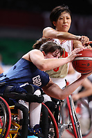 26th August 2021; Tokyo, Japan; Laurie Williams (GBR), Chihiro Kitada (JPN), Wheelchair Basketball : Women's Preliminary Round Group A match between Japan - Great Britain<br /> during the Tokyo 2020 Paralympic Games at the Musashino Forest Sport Plaza in Tokyo, Japan.