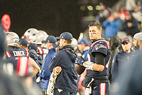 FOXBOROUGH, MA - OCTOBER 27: New England Patriots Quarterback Tom Brady #12 warming up during a game between Cleveland Browns and New Enlgand Patriots at Gillettes on October 27, 2019 in Foxborough, Massachusetts.