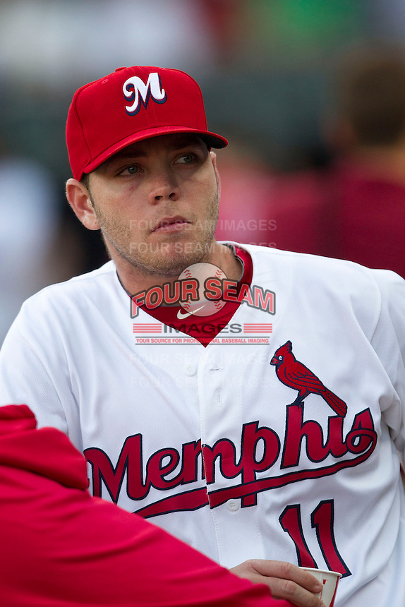 Memphis Redbirds pitcher Nick Addition (11) in the dugout against the New Orleans Zephyrs in the Pacific Coast League baseball game on June 12, 2013 at Autozone Park in Memphis, Tennessee. Memphis defeated New Orleans 9-3. (Andrew Woolley/Four Seam Images)