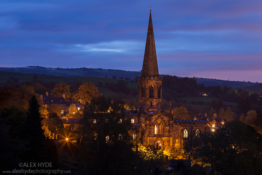 Bakewell church at night. Peak District National Park, Derbyshire, UK. October.