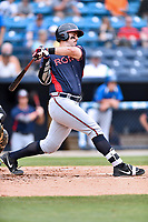Rome Braves first baseman Austin Bush (48) swings at a pitch during a game against the Asheville Tourists at McCormick Field on June 25, 2017 in Asheville, North Carolina. The Braves defeated the Tourists 7-2. (Tony Farlow/Four Seam Images)