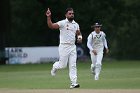 Z Shahzad of Wanstead celebrates taking the wicket of E Ballard during Wanstead and Snaresbrook CC (fielding) vs Brentwood CC, Hamro Foundation Essex League Cricket at Overton Drive on 19th June 2021