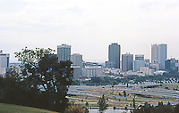 Perth: Downtown and freeways from King's Park. Photo '82.