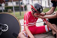 Kasper Asgreen (DEN/Deceuninck - Quick Step) post-finish<br /> <br /> Men Elite Individual Time Trial <br /> from Knokke-Heist to Bruges (43.3 km)<br /> <br /> UCI Road World Championships - Flanders Belgium 2021<br /> <br /> ©kramon