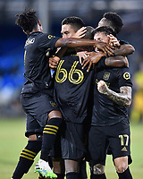 LAKE BUENA VISTA, FL - JULY 18: Bradley Wright-Phillips #66 of LAFC celebrates his goal with teammates during a game between Los Angeles Galaxy and Los Angeles FC at ESPN Wide World of Sports on July 18, 2020 in Lake Buena Vista, Florida.