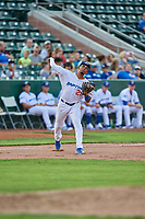 Jefrey Souffront (29) of the Ogden Raptors on defense against the Grand Junction Rockies at Lindquist Field on July 25, 2018 in Ogden, Utah. The Rockies defeated the Raptors 4-0. (Stephen Smith/Four Seam Images)