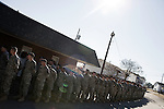 December 13, 2008. Erwin, North Carolina.. The troops line up outside the gym where the ceremony will be held.. A deployment ceremony was held at Cape Fear Christian Academy for B Company 230th Brigade Support Battalion headquartered in Dunn, NC.. The unit is part of the North Carolina National Guard's 30th Heavy Brigade Combat Team, which has 4000 soldiers  deploying to Iraq in April after training. The 30th was last deployed to Iraq in 2003-2005.