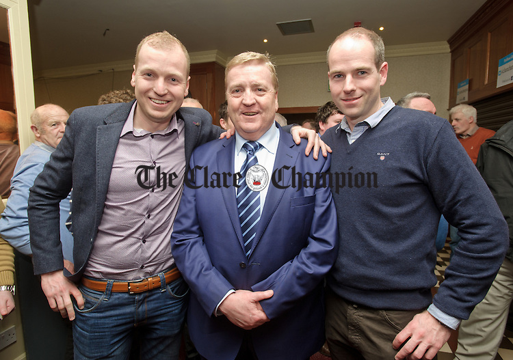 Pat Breen, Fine Gael, with his sons Patrick and Kenneth at theGE2016 count in Ennistymon. Photograph by John Kelly.