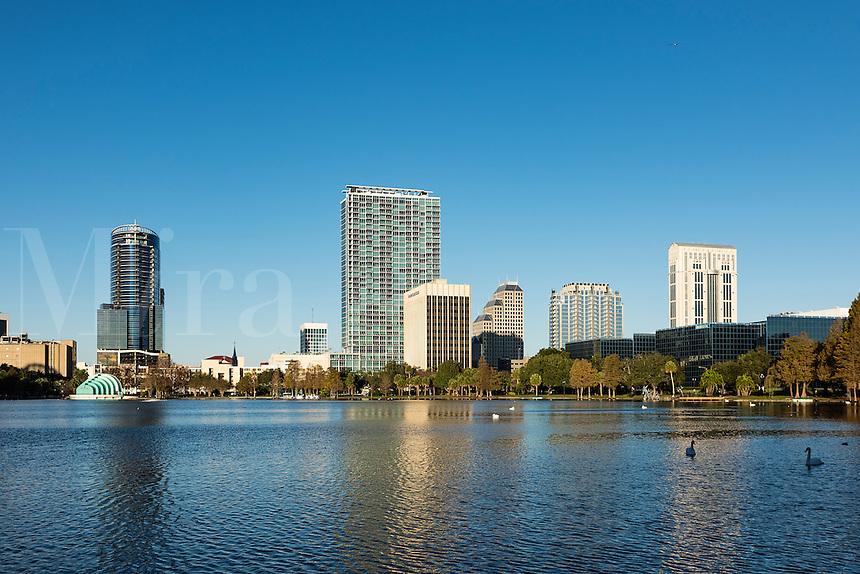 City skyline and Lake Eola, Orlando, Florida, USA