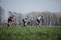 Brian Van Goethem (NED/Lotto Soudal), Alex Frame (NZL/Trek Segafredo) and Thimo Willems (BEL/Sport Vlaanderen Baloise) trying to catch up with the peloton. <br /> <br /> Bredene Koksijde Classic (2019) ( former Handzame Classic )<br /> Bredene > Koksijde 199km (BEL)<br /> <br /> ©kramon