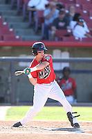 Patrick Brady #11 of the High Desert Mavericks bats against the Modesto Nuts at Heritage Field on June 29, 2014 in Adelanto, California. High Desert defeated Modesto, 6-1. (Larry Goren/Four Seam Images)