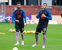 25th September 2021; Dens Park, Dundee, Scotland: Scottish Premiership football, Dundee versus Rangers; Connor Goldson and Leon Balogun of Rangers during the warm up before the match