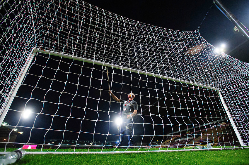 A Bradford City representative wipes the crossbar at half time due to Covid-19 safety protocols<br /> <br /> Photographer Chris Vaughan/CameraSport<br /> <br /> Carabao Cup Second Round Northern Section - Bradford City v Lincoln City - Tuesday 15th September 2020 - Valley Parade - Bradford<br />  <br /> World Copyright © 2020 CameraSport. All rights reserved. 43 Linden Ave. Countesthorpe. Leicester. England. LE8 5PG - Tel: +44 (0) 116 277 4147 - admin@camerasport.com - www.camerasport.com