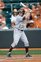 Arizona State Sun Devil outfielder Johnny Ruttiger #23 at bat against the Texas Longhorns in NCAA Tournament Super Regional baseball on June 10, 2011 at Disch Falk Field in Austin, Texas. (Photo by Andrew Woolley / Four Seam Images)