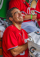 9 June 2013: Washington Nationals infielder Anthony Rendon smiles in the dugout prior to a game against the Minnesota Twins at Nationals Park in Washington, DC. The Nationals shut out the Twins 7-0 in the first game of their day/night double-header. Mandatory Credit: Ed Wolfstein Photo *** RAW (NEF) Image File Available ***