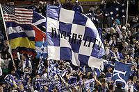 Kansas City wizrads fans celebarte a goal. Toronto FC defeated Kansas City Wizards 3-2 at Community America Ballpark, Kansas City, Kansas. March 21, 2009.
