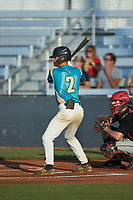 Justin Fox (2) (Erskine College) of the Mooresville Spinners at bat against the \ca at Moor Park on July 31, 2020 in Mooresville, NC. The Spinners defeated the Athletics 6-3 in a game called after 6 innings due to rain. (Brian Westerholt/Four Seam Images)