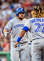 Jun 22, 2019; Boston, MA, USA; Toronto Blue Jays first baseman Rowdy Tellez is greeted at the dugout after hitting a solo home run in the 7th inning against the Boston Red Sox at Fenway Park. Mandatory Credit: Ed Wolfstein-USA TODAY Sports