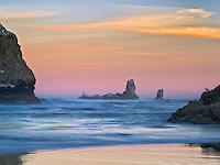 Tillamook Rock Lighthouse at sunrise. Oregon