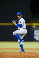 AZL Royals relief pitcher Jose De Leon (29) delivers a pitch to the plate against the AZL Mariners on July 29, 2017 at Peoria Stadium in Peoria, Arizona. AZL Royals defeated the AZL Mariners 11-4. (Zachary Lucy/Four Seam Images)