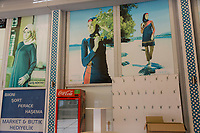 Posters of women wearing the burkini, a modest Muslim bathing suit on the walls of the Club Hotel Karaburun halal hotel in southern Turkey.