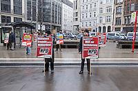 35 Neonazis der NPD hielten am Samstag den 7. Februar 2015 auf dem Hamburger Gaensemarkt eine Kundgebung im Hamburger  Wahlkampf der Buergerschaftswahl 2015 ab. Mehrere tausend Menschen protestierten gegen die Kundgebung der Neonazis.<br /> 7.2.2015, Hamburg<br /> Copyright: Christian-Ditsch.de<br /> [Inhaltsveraendernde Manipulation des Fotos nur nach ausdruecklicher Genehmigung des Fotografen. Vereinbarungen ueber Abtretung von Persoenlichkeitsrechten/Model Release der abgebildeten Person/Personen liegen nicht vor. NO MODEL RELEASE! Nur fuer Redaktionelle Zwecke. Don't publish without copyright Christian-Ditsch.de, Veroeffentlichung nur mit Fotografennennung, sowie gegen Honorar, MwSt. und Beleg. Konto: I N G - D i B a, IBAN DE58500105175400192269, BIC INGDDEFFXXX, Kontakt: post@christian-ditsch.de<br /> Bei der Bearbeitung der Dateiinformationen darf die Urheberkennzeichnung in den EXIF- und  IPTC-Daten nicht entfernt werden, diese sind in digitalen Medien nach §95c UrhG rechtlich geschuetzt. Der Urhebervermerk wird gemaess §13 UrhG verlangt.]