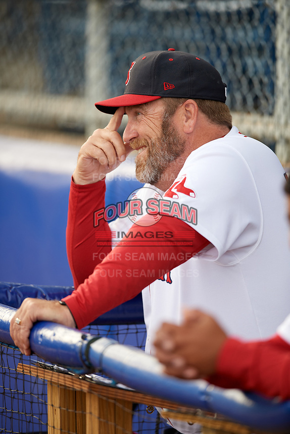 Salem Red Sox manager Joe Oliver (50) in the dugout before a game against the Lynchburg Hillcats on May 10, 2018 at Haley Toyota Field in Salem, Virginia.  Lynchburg defeated Salem 11-5.  (Mike Janes/Four Seam Images)