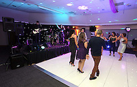 Pictured: Dancers on the floor and live music on stage<br /> Re: Swansea City FC Christmas party at the Liberty Stadium, south Wales, UK.