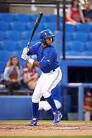 Dunedin Blue Jays shortstop Richard Urena (7) at bat during the second game of a doubleheader against the Palm Beach Cardinals on July 31, 2015 at Florida Auto Exchange Stadium in Dunedin, Florida.  Dunedin defeated Palm Beach 4-0.  (Mike Janes/Four Seam Images)