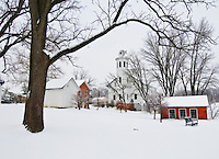 The barn and buildings at Everal Barn and Homestead during a snow storm.  Photo Copyright Gary Gardiner. Not be used without written permission detailing exact usage.